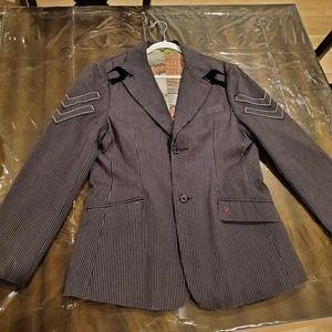 Roar Men's Pinstriped Two Button Blazer